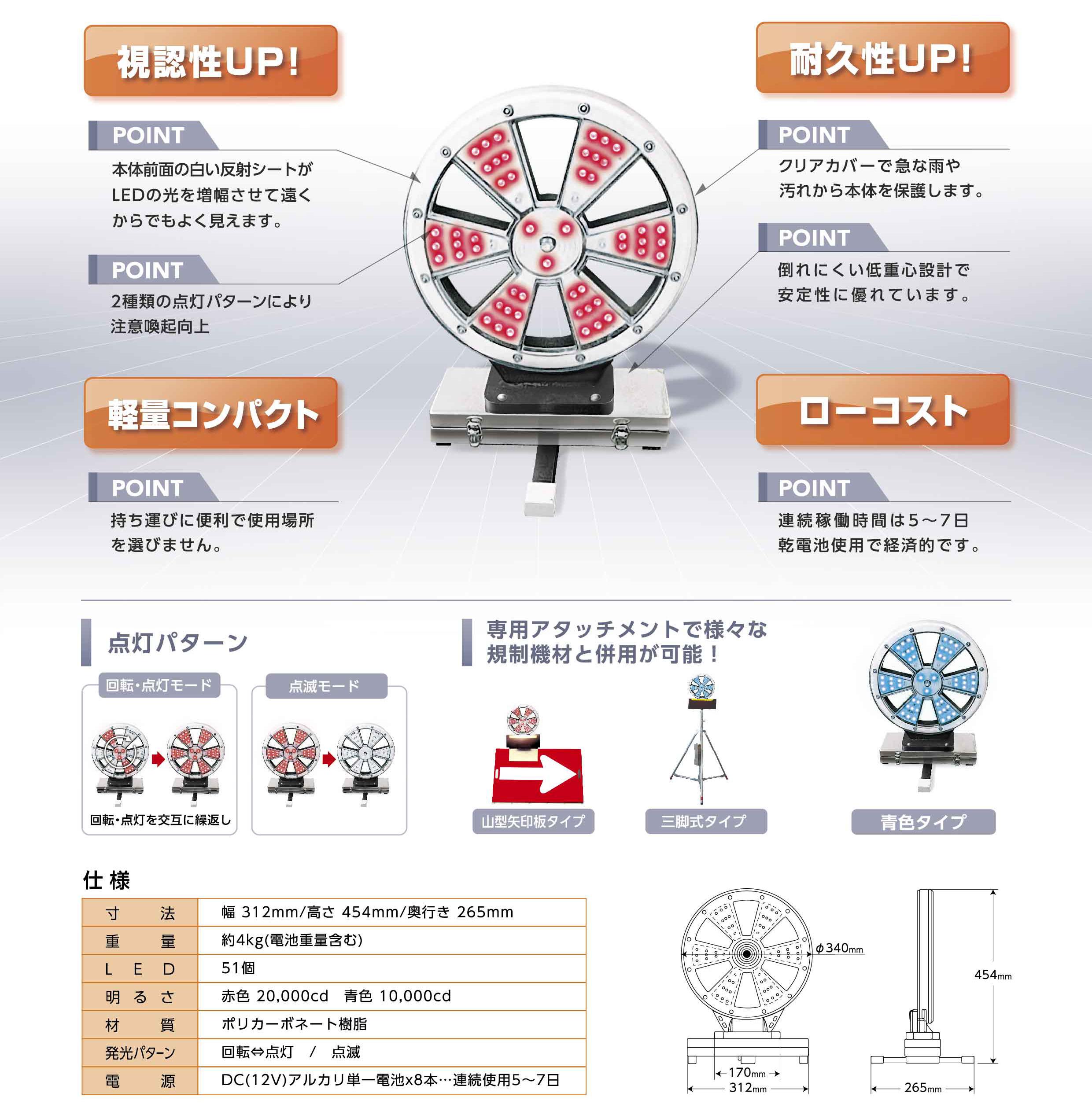 ピカポンⅡ(携行式LED警告灯)